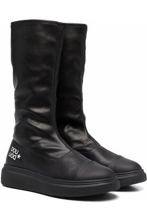 DOUUOD KIDS TEEN logo-print leather boots