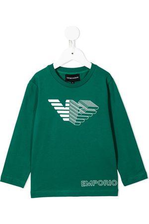 Emporio Armani Boys Long Sleeve - Logo print long-sleeved T-shirt