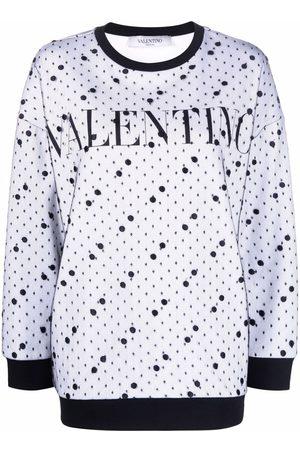 VALENTINO Tulle-overlay logo-print sweatshirt