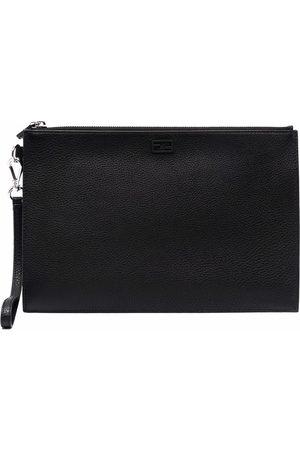 Fendi Embossed-logo clutch bag