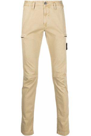 Stone Island Men Straight Leg Pants - Logo-patch straight-leg trousers - Neutrals