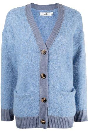 B+AB V-neck contrast-trim knitted cardigan