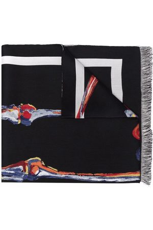 Alexander McQueen Men Scarves - Skeleton graphic-print fringed scarf