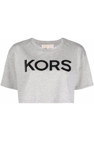 Michael Kors Cropped logo-print T-shirt - Grey
