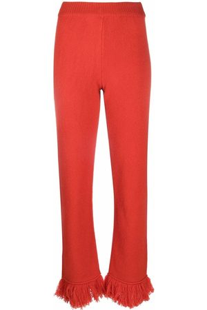 Alanui Fringed wool straight-leg trousers