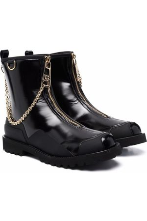 Dolce & Gabbana Girls Ankle Boots - Chain-detail patent leather boots