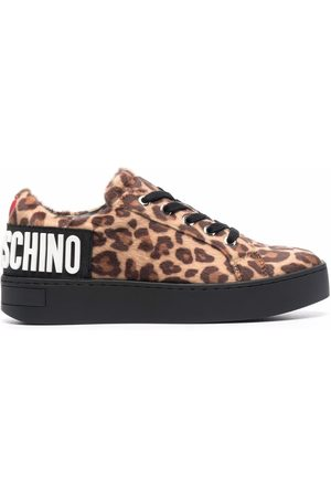 Love Moschino Women Sneakers - Logo-embossed leopard-print trainers