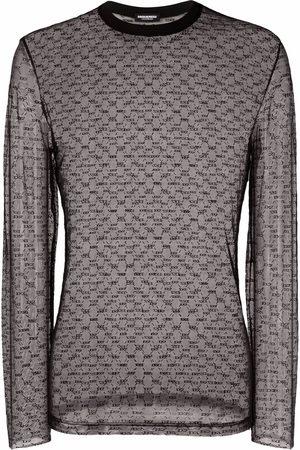 Dsquared2 Mesh logo-knit longsleeved top