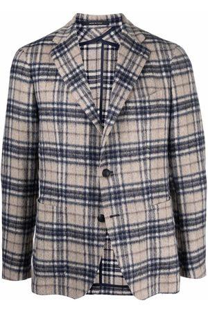 TAGLIATORE Unlined check-pattern knit blazer - Neutrals