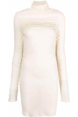 Pinko Ruched-detail roll-neck dress - Neutrals