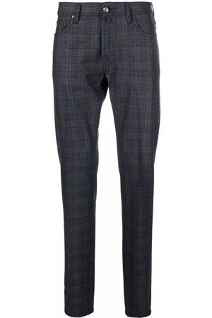 Jacob Cohen Men Skinny Pants - Check-print virgin wool-blend slim-cut trousers