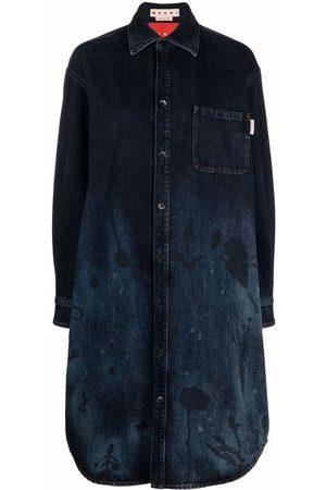 Marni Women Casual Dresses - Floral-spray denim shirt dress