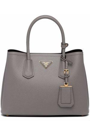Prada Women Tote Bags - Double small tote bag - Grey