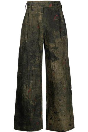 ZIGGY CHEN Men Wide Leg Pants - Faded wide-leg trousers