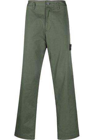 Stone Island Straight Leg Pants - Compass-patch straight-leg trousers