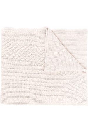 Ganni Ribbed-knit rectangle scarf - Neutrals