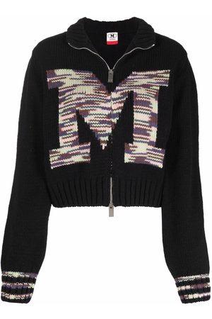 M Missoni Intarsia-logo zip-up cardigan