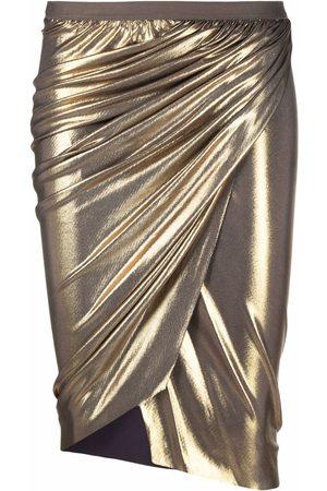 RICK OWENS LILIES Women Pencil Skirts - Metallic draped pencil skirt