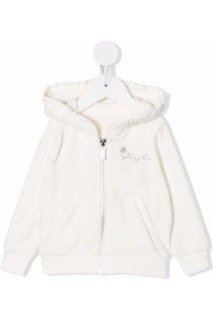 Lapin House Hoodies - Velour ruffled zip-up hoodie - Neutrals