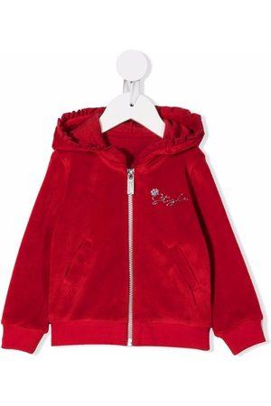Lapin House Hoodies - Velour ruffled-hooded zip-up jumper