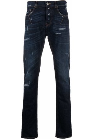 Les Hommes Slim-fit distressed jeans