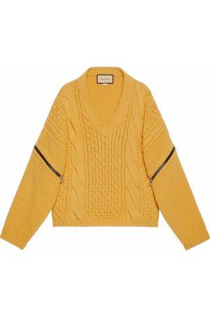 Gucci Men Sweatshirts - V-neck cable-knit wool jumper