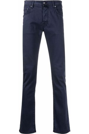 Jacob Cohen Men Skinny Pants - Handkerchief-detail slim-cut trousers