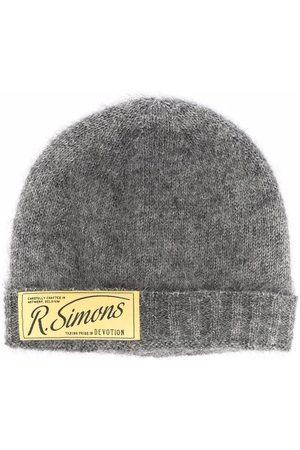 RAF SIMONS Men Beanies - Logo-patch knitted beanie - Grey