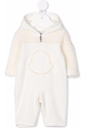 Moncler Panelled fleece romper - Neutrals