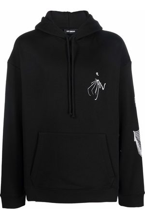 RAF SIMONS Skeleton-embroidered long-sleeve hoodie