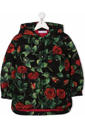 Dolce & Gabbana Girls Puffer Jackets - All-over floral print hooded coat