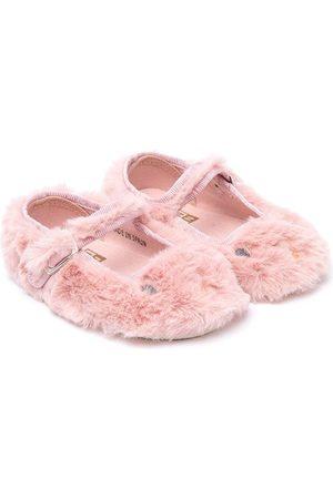 BONTON Girls Ballerinas - Faux-fur bunny ballerina shoes