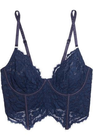 Cosabella Women Underwired Bras - Woman Satin-trimmed Mesh-paneled Corded Lace Underwired Bra Midnight Size 32 B