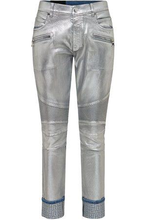 Balmain Slim Metallic Stretch Cotton Denim Jeans