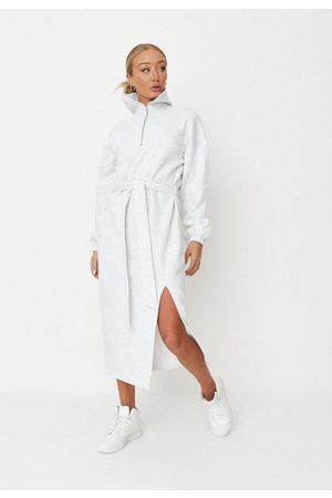 Missguided Women Casual Dresses - Gray Marl Extreme Collar Midaxi Sweater Dress