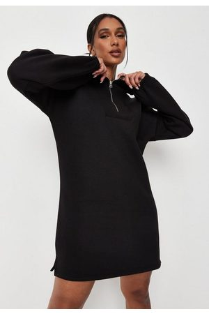 Missguided Women Casual Dresses - Extreme Collar Half Zip Sweater Dress