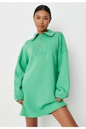 Missguided Women Casual Dresses - Extreme Collar Half Zip Mini Sweater Dress