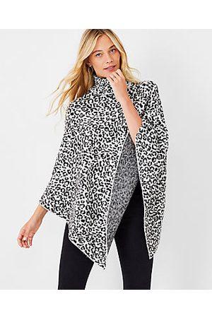 ANN TAYLOR Leopard Print Turtleneck Poncho