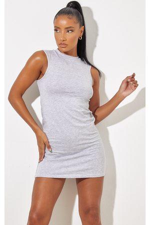 PRETTYLITTLETHING Women Casual Dresses - Grey Marl Oversized Sleeveless T Shirt Dress