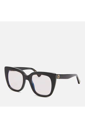 Gucci Women's Square Cat Eye Acetate Blue Light Glasses