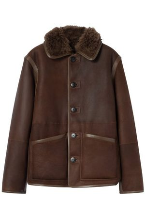 LEMAIRE Men Leather Jackets - Reversible Shearling And Leather Jacket - Mens - Dark