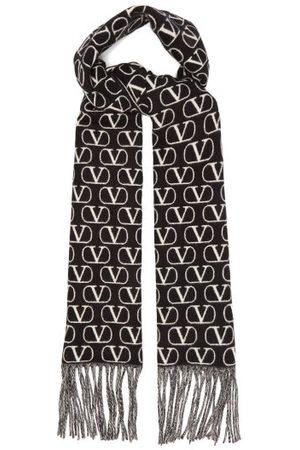 VALENTINO GARAVANI V-logo Jacquard Fringed Wool-blend Twill Scarf - Womens