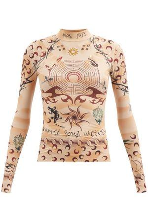 Marine Serre High-neck Tattoo-print Jersey Top - Womens - Tan Multi
