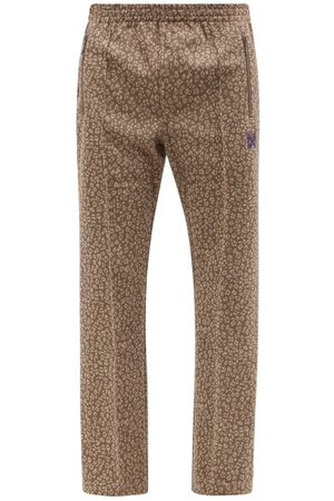 Pins & Needles Men Sweatpants - Butterfly-embroidered Leopard-jacquard Track Pants - Mens