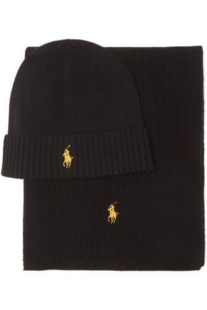 Polo Ralph Lauren Men Scarves - Logo-embroidered Wool Hat And Scarf Set - Mens