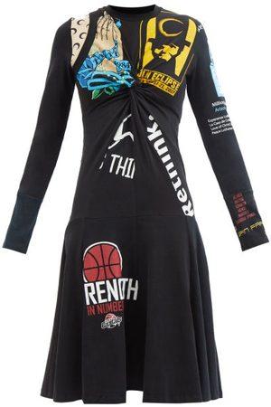 Marine Serre Women Casual Dresses - Upcycled Patchwork Cotton-jersey Midi Dress - Womens - Multi