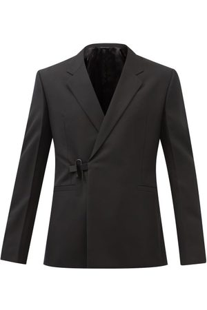 Givenchy Oblique-front Padlock Wool-twill Blazer - Mens