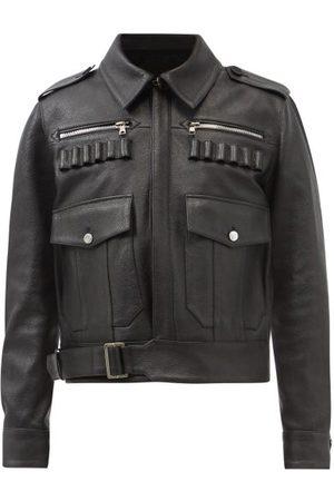 Balmain Flap-pocket Leather Aviator Jacket - Mens