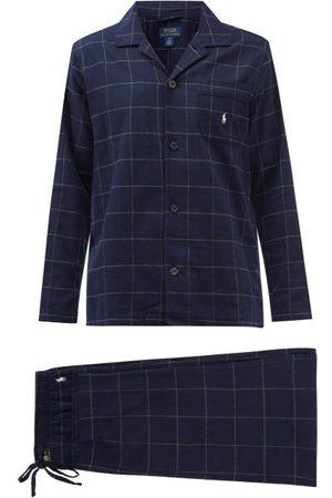 Polo Ralph Lauren Logo-embroidered Check Cotton-flannel Pyjamas - Mens - Navy