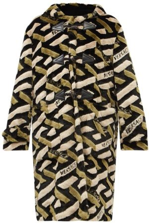 VERSACE La Greca Hooded Faux-fur Duffle Coat - Mens - Multi